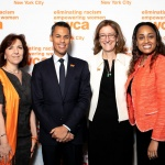 YWCA NYC CEO Rosemarie Bonelli & YWCA NYC Board Co-Chairs Mary F. Crawford and Tracy Richelle High with YWCA NYC 'Man of the Year' Ted Acosta, Americas Vice Chair, Risk, Ernst & Young LLP