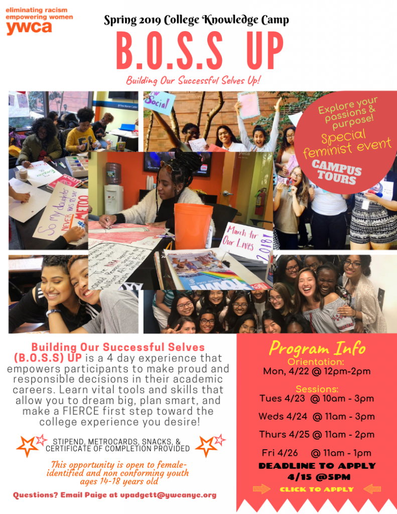 This camp flyer includes a collage of forer and current program participants. It also includes camp details such as date and time.