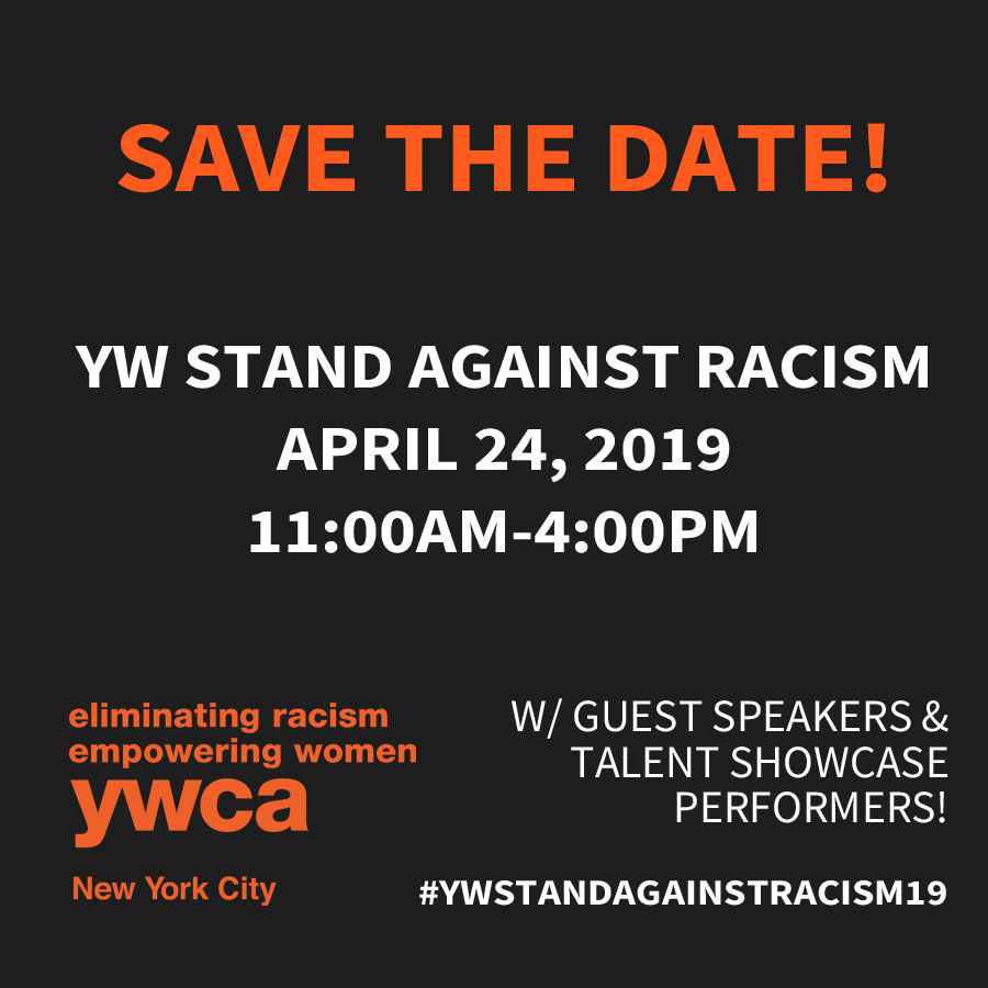 Stand Against Racism event Save the Date listing event details.