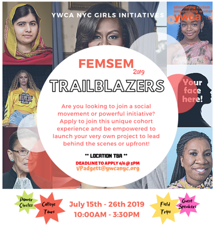 This is a flyer for FEMSEM indicating the topic, date, and includes a collage of women leader photos.