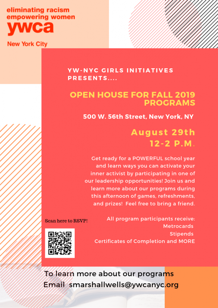 Join us at our Girls Initiatives Fall 2019 Open House on August 29th from 12-2pm and learn how YOU can activate your inner activist this school year. RSVP at https://forms.gle/n8AJZAocUcG9AwhN6