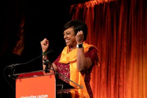 Janice Huff stands at the podium at our 46th Annual Luncheon.